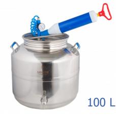 Ανοξείδωτο δοχείο με βιδωτό καπάκι χωρητικότητας 100L με βαλβίδα απαγωγής αέρα - DO.KOL.A.100