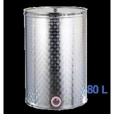 Ανοξείδωτο δοχείο κολλητό ανοικτού  τύπου σφυρήλατο φινίρισμα χωρητικότητας 80L - DO.AN.KO.80