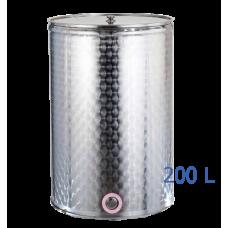 Ανοξείδωτο δοχείο κολλητό ανοικτού  τύπου σφυρήλατο φινίρισμα χωρητικότητας 200L - DO.AN.KO.200