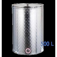 Ανοξείδωτο δοχείο κολλητό ανοικτού  τύπου σφυρήλατο φινίρισμα χωρητικότητας 500L - DO.AN.KO.500