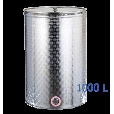 Ανοξείδωτο δοχείο κολλητό ανοικτού  τύπου σφυρήλατο φινίρισμα χωρητικότητας 1000L - DO.AN.KO.1000