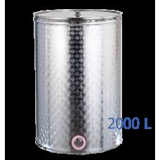 Ανοξείδωτο δοχείο κολλητό ανοικτού  τύπου σφυρήλατο φινίρισμα χωρητικότητας 2000L - DO.AN.KO.2000