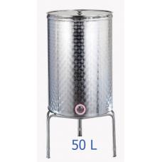 Ανοξείδωτο δοχείο κολλητό κωνικού πυθμένα  ανοικτού  τύπου σφυρήλατο φινίρισμα 50L - DO.AN.KON.50