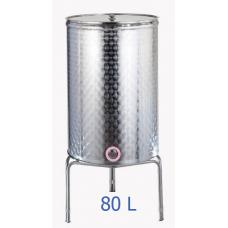 Ανοξείδωτο δοχείο κολλητό κωνικού πυθμένα  ανοικτού  τύπου σφυρήλατο φινίρισμα 80L - DO.AN.KON.80