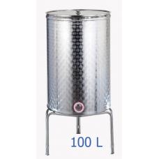 Ανοξείδωτο δοχείο κολλητό κωνικού πυθμένα  ανοικτού  τύπου σφυρήλατο φινίρισμα 100L - DO.AN.KON.100
