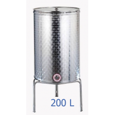 Ανοξείδωτο δοχείο κολλητό κωνικού πυθμένα  ανοικτού  τύπου σφυρήλατο φινίρισμα 200L - DO.AN.KON.200