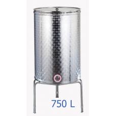 Ανοξείδωτο δοχείο κολλητό κωνικού πυθμένα  ανοικτού  τύπου σφυρήλατο φινίρισμα 750L - DO.AN.KON.750