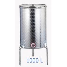 Ανοξείδωτο δοχείο κολλητό κωνικού πυθμένα  ανοικτού  τύπου σφυρήλατο φινίρισμα 1000L - DO.AN.KON.1000
