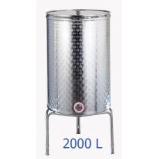 Ανοξείδωτο δοχείο κολλητό κωνικού πυθμένα  ανοικτού  τύπου σφυρήλατο φινίρισμα 2000L - DO.AN.KON.2000