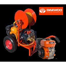 Βενζινοκίνητο ψεκαστικό συγκρότημα σε απλή  βάση με ρόδες 400 - κινητήρα DAEWOO 6.5HP - αντλία TF40 - ανέμη 100μ - λάστιχο 50μ - εκτοξευτή