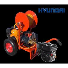 Βενζινοκίνητο ψεκαστικό συγκρότημα σε απλή  βάση με ρόδες 400 - κινητήρα HYUNDAI 6.5HP - αντλία TF40 - ανέμη 100μ - λάστιχο 50μ - εκτοξευτή