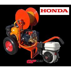 Βενζινοκίνητο ψεκαστικό συγκρότημα σε απλή  βάση με ρόδες 400 - κινητήρα HONDA GP160 5.5HP- αντλία TF40 - ανέμη 100μ - λάστιχο 50μ - εκτοξευτή