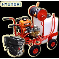 Βενζινοκίνητο ψεκαστικό συγκρότημα με βυτίο 100L  με 4 ρόδες 300-4 PU κινητήρα HYUNDAI 6.5 HP